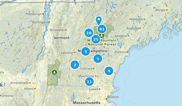 New Hampshire Waterfall Map