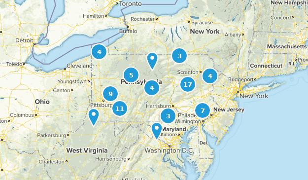 Pennsylvania Snowshoeing Map