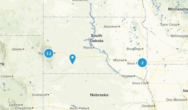 South Dakota Waterfall Map