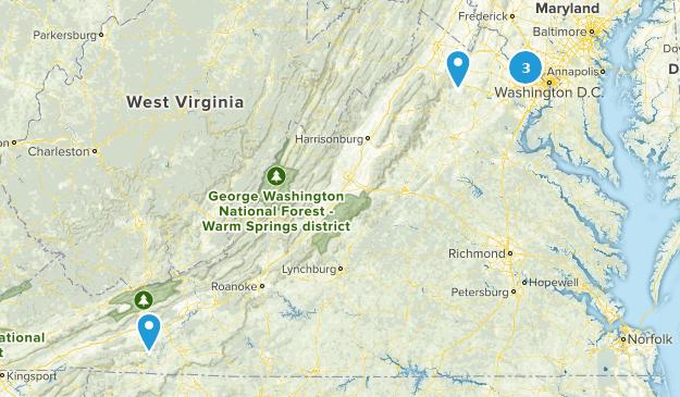 Virginia Snowshoeing Map