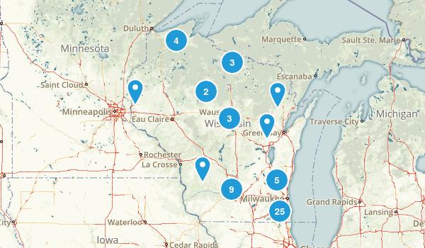 Wisconsin Snowshoeing Map