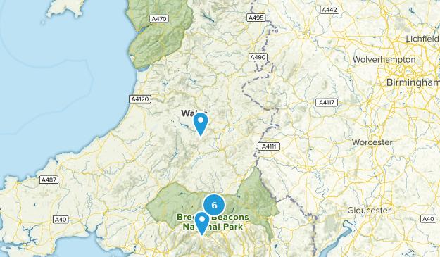 Powys, Wales Hiking Map
