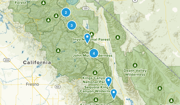 eastern sierra hikes Map
