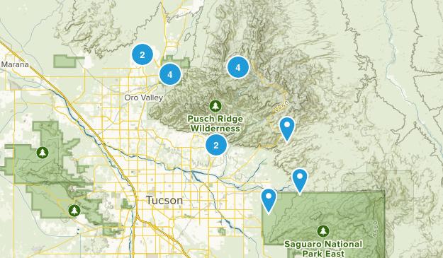 tucson area hikes  Map