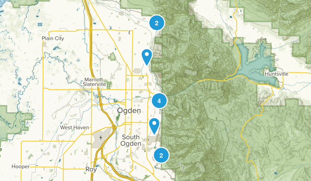 To do hikes, weber county Map