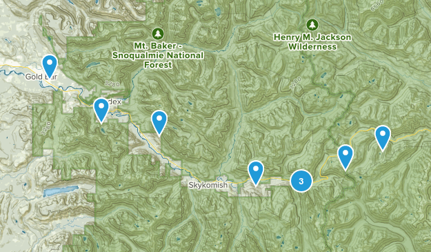 Hwy 2 Hikes Map