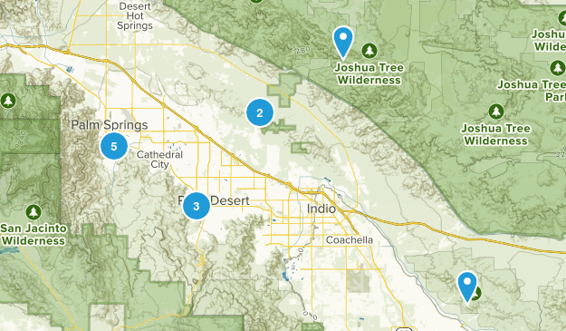 Palm Springs Hikes Map