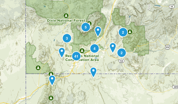 ST GEORGE HIKES Map