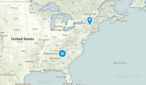 GA,SC,TN,NC TRAILS  Map