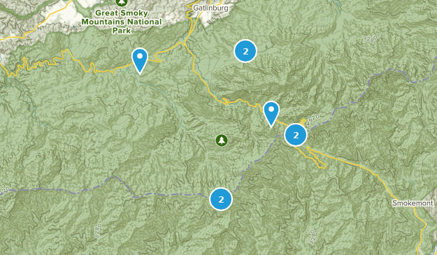 backpacking trails for smoky Map