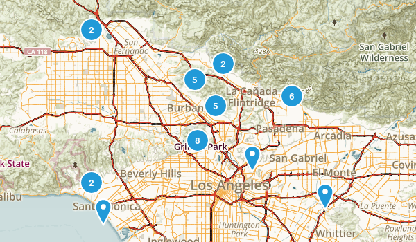 hikes los angeles Map