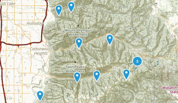 salt lake county hikes Map