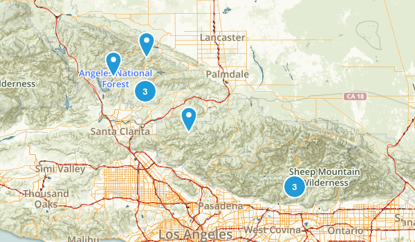 Angeles national Forest 4 x 4 trails Map