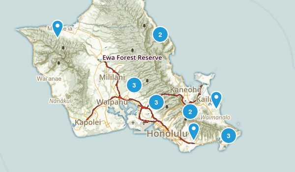 O'ahu hikes Map