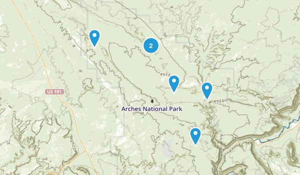 arches hikes Map