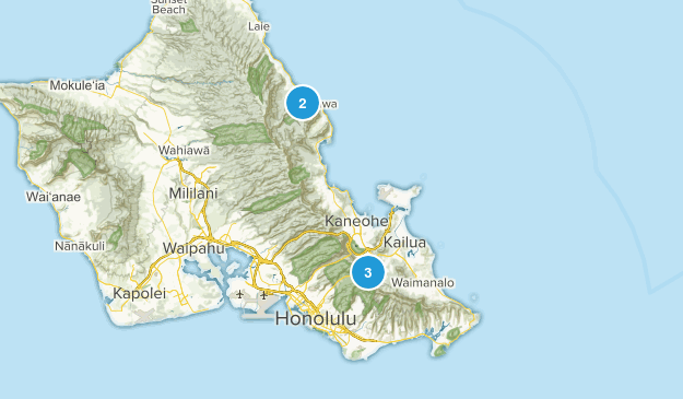 Oahu Waterfalls Map