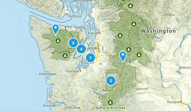 Linda's Washington Completed Hikes  Map