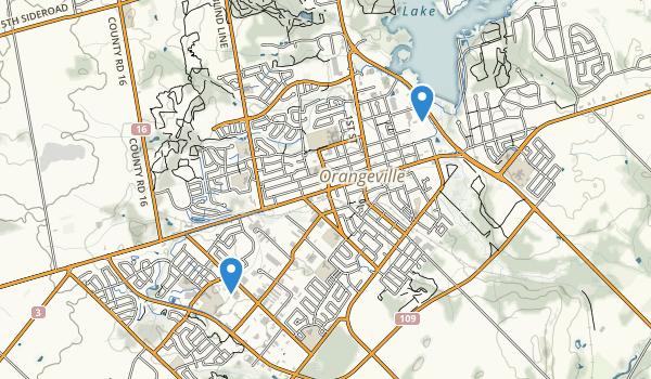 trail locations for Orangeville, Ontario