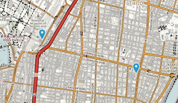 Higashiueno, Tokyo Map