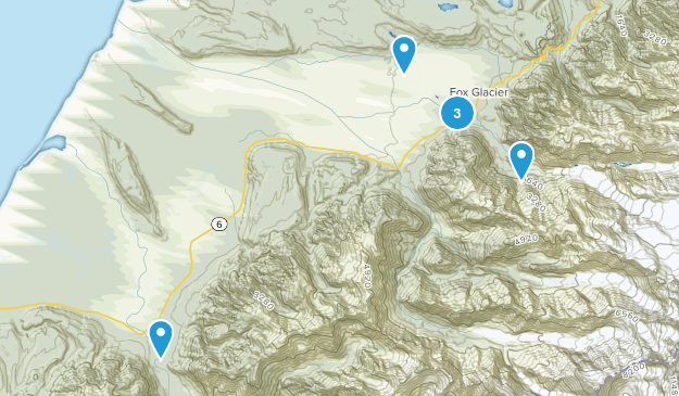 Fox Glacier, West Coast Region Map