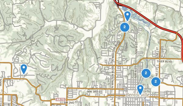 trail locations for Bentonville, Arkansas