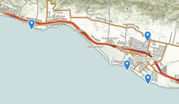 trail locations for Carpinteria, California