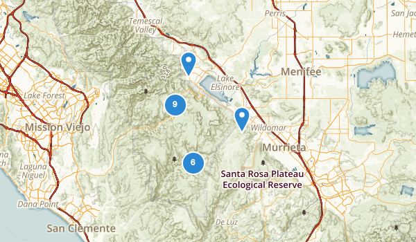 trail locations for Lake Elsinore, California
