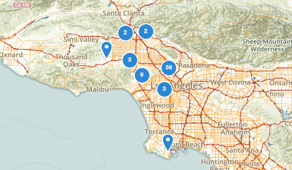 trail locations for Los Angeles, California