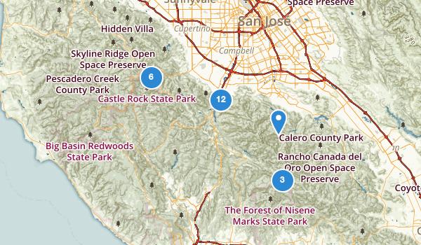 trail locations for Los Gatos, California