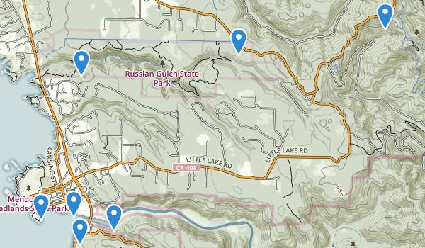 trail locations for Mendocino, California