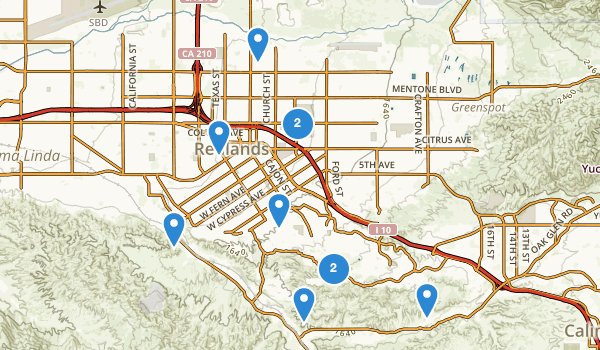 trail locations for Redlands, California
