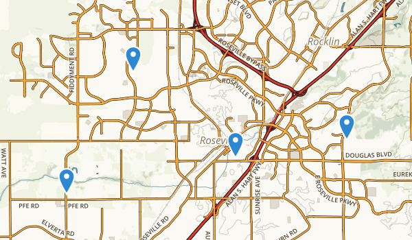 trail locations for Roseville, California