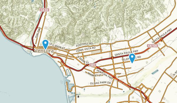 San Buenaventura (Ventura), California Map
