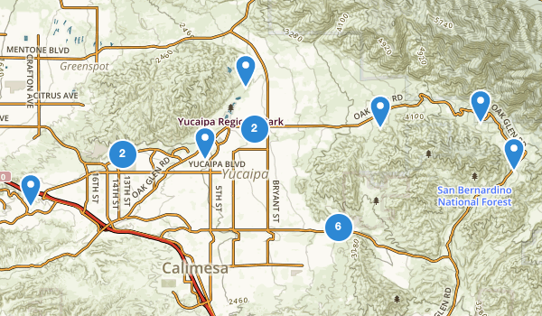 trail locations for Yucaipa, California