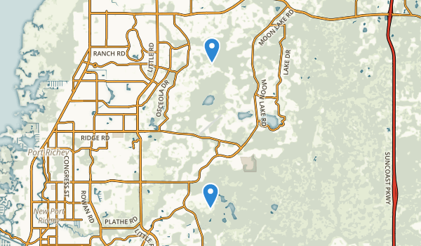 trail locations for New Port Richey, Florida