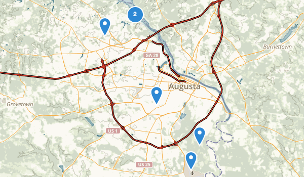 trail locations for Augusta, Georgia