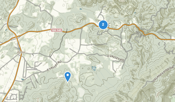 trail locations for Rydal, Georgia