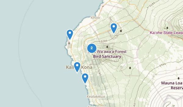 trail locations for Kailua Kona, Hawaii