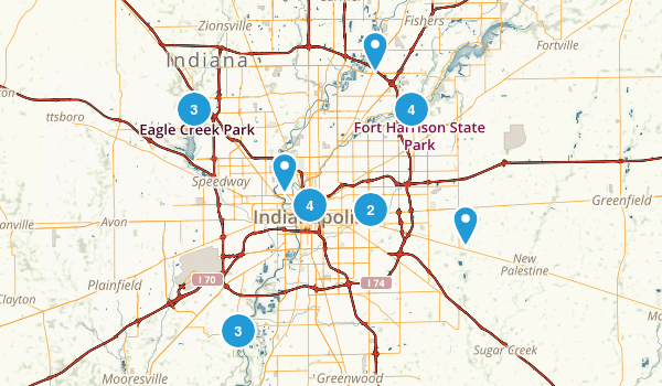 Best Trails Near Indianapolis Indiana AllTrailscom - Map of indianapolis showing us 52