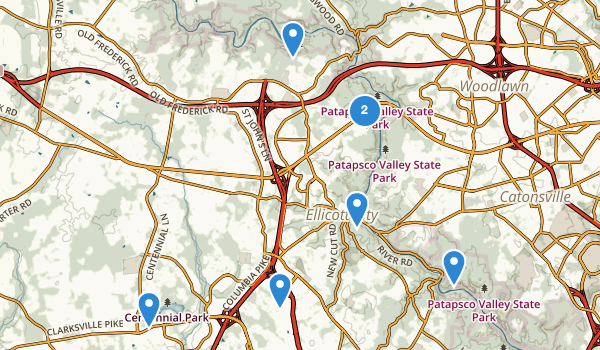 trail locations for Ellicott City, Maryland