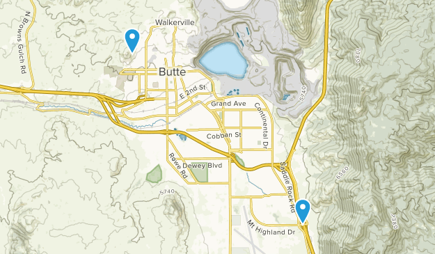 Butte-Silver Bow, Montana Map