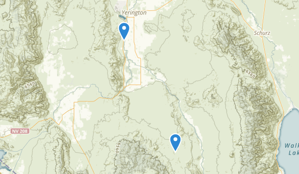 trail locations for Yerington, Nevada