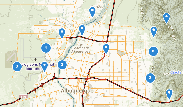 trail locations for Albuquerque, New Mexico