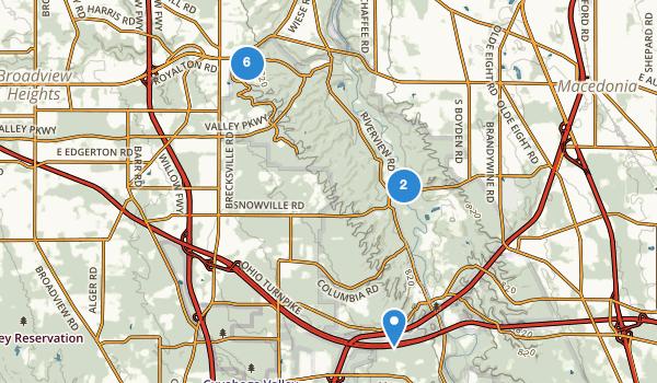 trail locations for Brecksville, Ohio