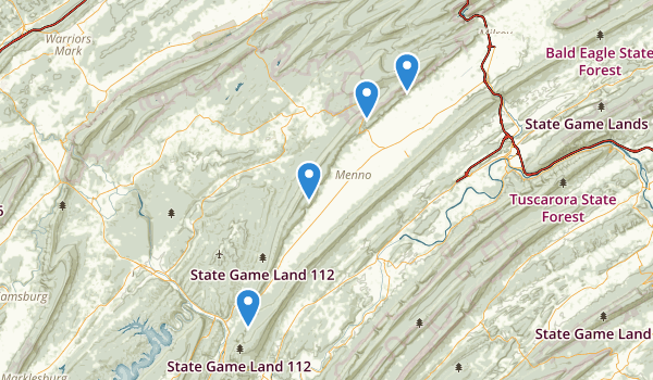 trail locations for Huntingdon, Pennsylvania