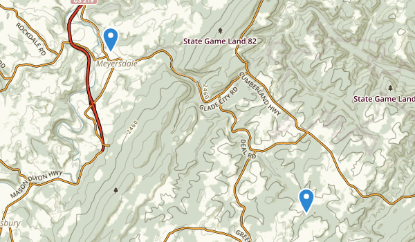 trail locations for Meyersdale, Pennsylvania