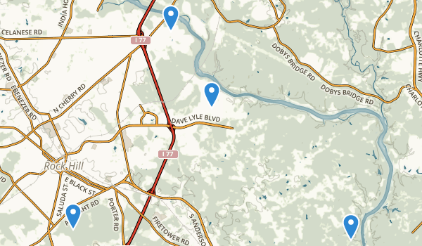 trail locations for Rock Hill, South Carolina