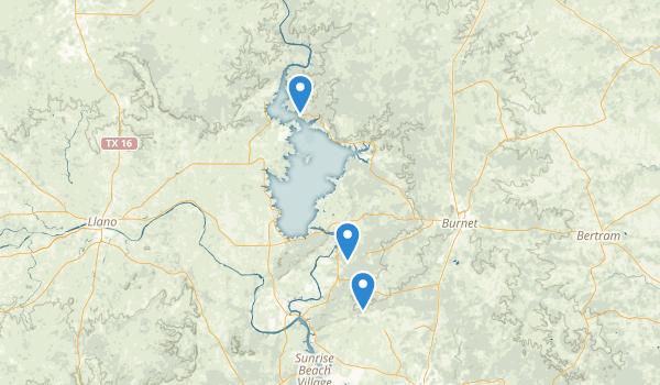 trail locations for Burnet, Texas