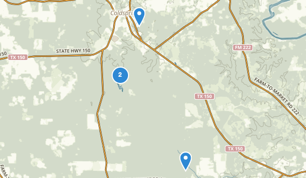 trail locations for Coldspring, Texas