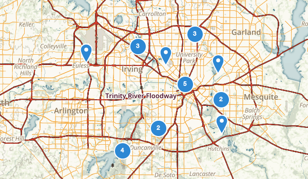 trail locations for Dallas, Texas
